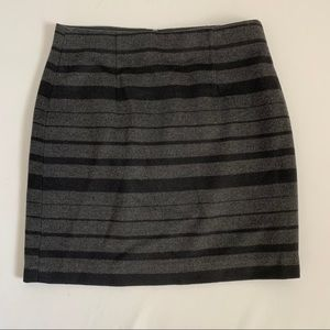 Banana Republic Gray Wool Striped Lined Skirt